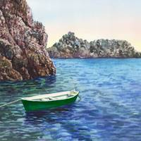 Green Boat In The Blue Harbor Watercolor Art