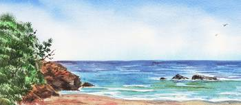 Long Calm Beach Watercolor Seascape Painting