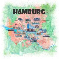 Hamburg Germany Illustrated Map with Main Roads La
