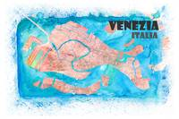 Venezia Italia Clean Iconic City Map