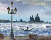 Evening In Venice Watercolor Painting