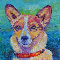 Dog painting Impressionist Modern Pet Portrait