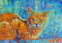 Cat Painting II Kitty Portrait Pet Feline Gato