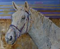White Horse Portrait Modern Animal Artwork