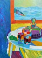 Still life with fish Funny kitchen painting