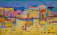 Abstract Landscape Maroco Cityscape Yellow Blue