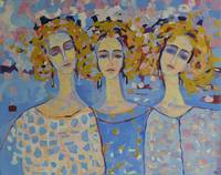 Three Angels Modern Pastel Painting Figurative Art