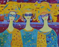 Three Modern Angels Colorful Woman Painting
