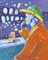 Cowboy sitting at a bar Colorful Figure Painting