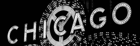 Chicago Theatre Sign Panorama in Black and White