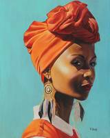 Original oil painting African female portrait