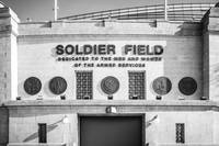 Chicago Soldier Field Sign in Black and White