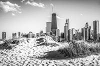 Chicago Beach and Skyline in Black and White