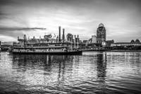 Cincinnati Skyline and Riverboat Black and White