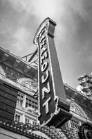 Austin Paramount Theatre Sign in Black and White