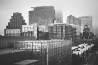 Foggy Austin Skyline in Black and White