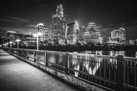 Austin Skyline at Night in Black and White