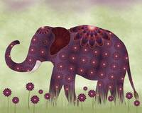 Purple and Orange Elephant in Field of Flowers