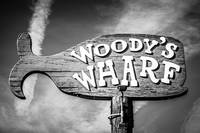 Newport Beach Woody's Wharf Sign Black and White