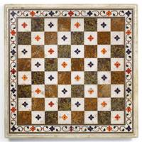 A MUGHAL PIETRA DURA CHESS BOARD, NORTH INDIA, 17T