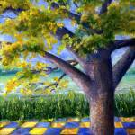 """Tree in Yellow and Blue Surroundings"" by Lenora"