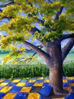 Tree in Yellow and Blue Surroundings
