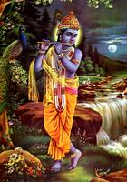 Lord Krishna playing flute Hindu God Poster