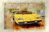 Yellow Lamborghini Countach