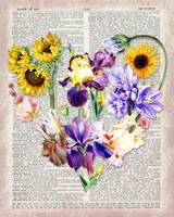 Flowers Heart On Dictionary Page Watercolor