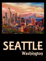 Retro Travel Poster Seattle Washington