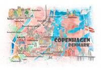 Copenhagen Denmark Illustrated Map with Main Roads