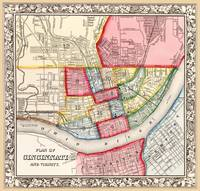 Cincinnati Antique Map 1863