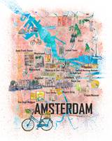 Amsterdam Netherlands Illustrated Map with Main Ro
