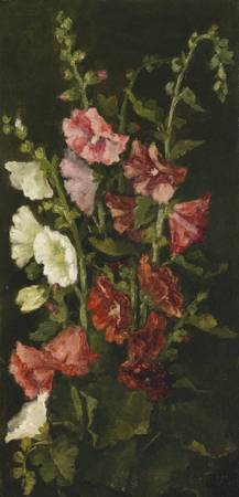 John La Farge 1835 - 1910 HOLLYHOCKS