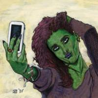 Goblin Girl Cell Phone Selfie Fantasy Art