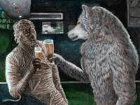 Mummy and Werewolf Drinking Beer Fantasy Art