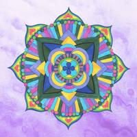 Mandala Watercolor in Yellow and Purple