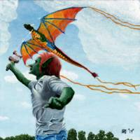 Goblin Flying Rainbow Dragon Kite Fantasy Art
