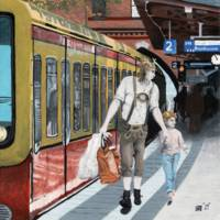 German Elf Family Train Shopping Trip Fantasy Art