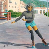 Alien Woman Roller Skater Skating Fantasy Art