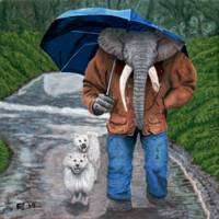 Elephant Man Dog Walking Fantasy Art