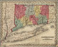 Connecticut Map with Long Island 1854