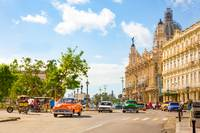 Oldtimers driving through down town Havana - Cuba
