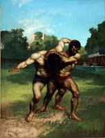 The Wrestlers by G. Courbet (1853)