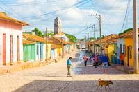 Old colorful church street in the city of Trinidad