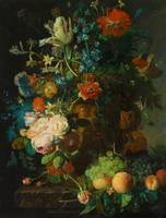 Still Life with Flowers and Fruit by Jan van Huysu