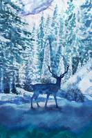 Watercolor Deer Silhouette In Teal Blue Forest