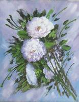 Floral Peonies on Green Leaves Painting
