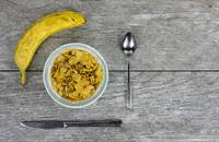 Breakfast Cereal, Banana, Utensils on Pale Gray (W