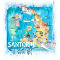 Santorini Greece Illustrated Map with Main Roads L